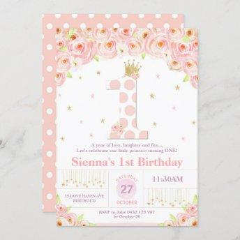 Coral Floral 1st Birthday Princess Invitation Girl