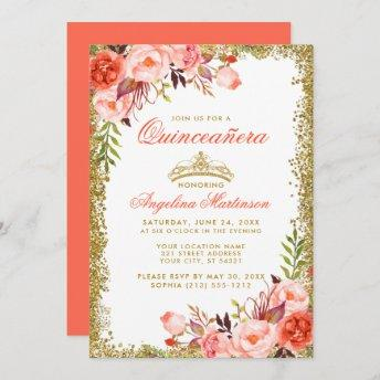 Coral Watercolor Floral Quinceanera Gold Glitter Invitation