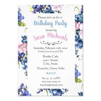 Cottage Roses Birthday Party Invitation