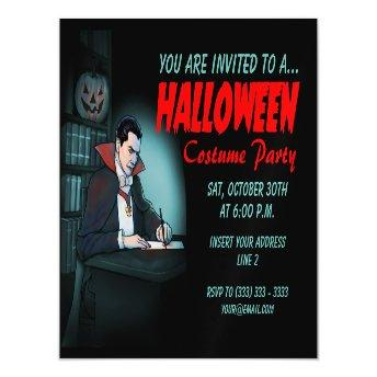 Count Dracula Halloween Party Magnetic Invitation