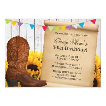 Country Cowgirl & Sunflowers Wood Birthday Party