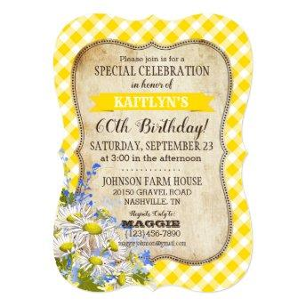Country Picnic with Daisy Bouquet Birthday Invite