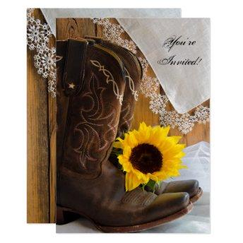 Country Sunflower Lace Western Quinceanera Party Invitation
