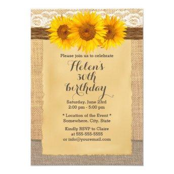 Country Sunflowers Laced Burlap Birthday Party