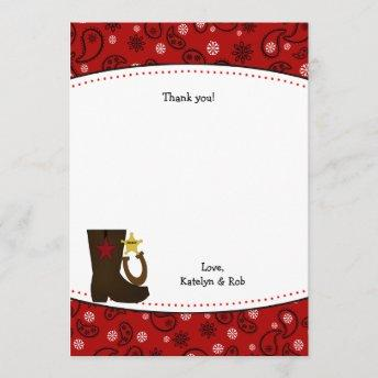 Cowboy Birthday Party Thank You Note