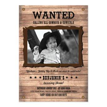 Cowboy Cowgirl Birthday PartyWanted Poster Invite