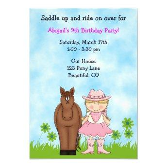 Cowgirl and Horse Birthday