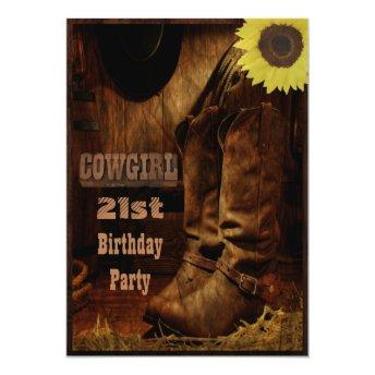 Cowgirl Any Age Birthday Rustic Country Western Invitation