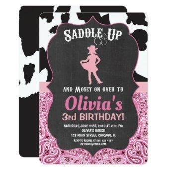 Cowgirl birthday invitation bandana cow print