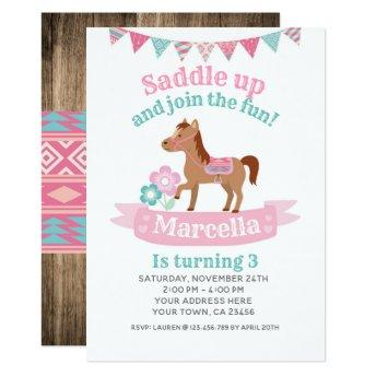 Cowgirl, Horse Birthday Invitation