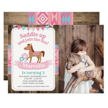 Cowgirl, Horse Birthday Invitation with Photo