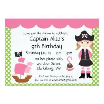 Customizable Pink Pirate Girl Birthday Party
