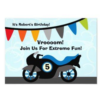 Customized Biker Motorcycle Birthday Invitation