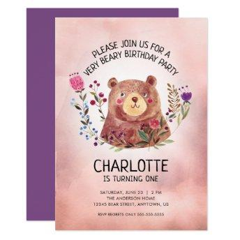 Cute Bear and Flowers Birthday Party Invitation