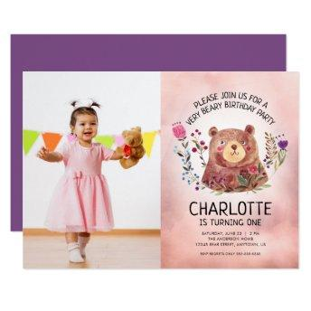 Cute Bear and Flowers Girls Photo Birthday Party Invitation