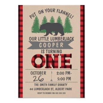 Cute Bear Lumberjack 1st Birthday