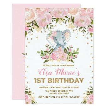 Cute Blush Pink Floral Elephant 1st Birthday Party Invitation