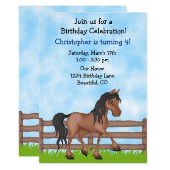 Cute Brown Horse Boys Birthday Party Invitation