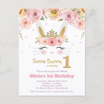 Cute Bunny Rabbit 1st Birthday Pink Floral Invitation PostInvitation