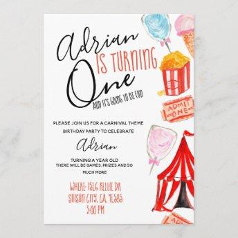 Cute carnival circus kid party invitiation invitation
