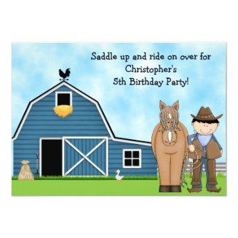 Cute Cowboy and Horse Boys Birthday