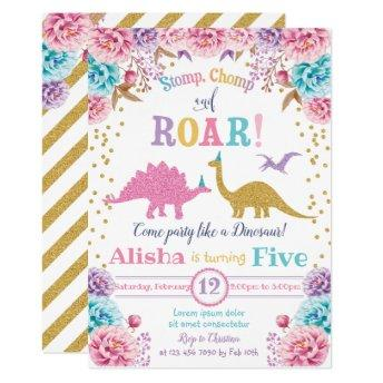 Cute Dinosaur Birthday Invitation Girl