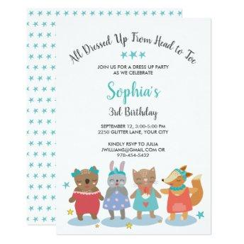 Cute Dress Up Party Girl Birthday Party Invitation