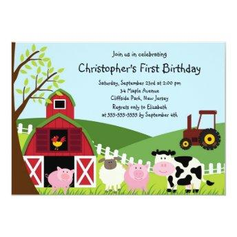 Cute Farm Animal Birthday Party Invitation