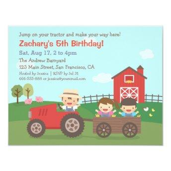 Cute Farm Tractor Kids Birthday Party