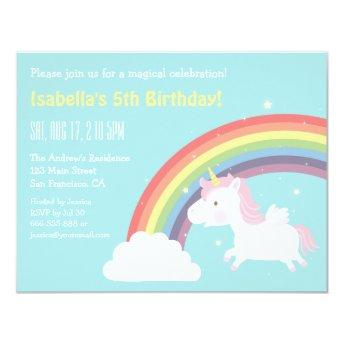 Cute Flying Unicorn Rainbow Girls Birthday Party