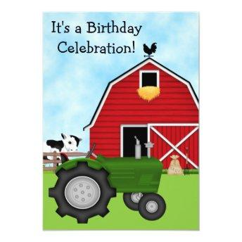 Cute Green Tractor and Red Barn Boys Birthday