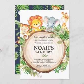Cute Jungle Animals 1st Birthday Greenery Safari Invitation