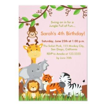 Cute Jungle Animals Girl Birthday Party