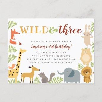 Cute Jungle Animals & Leaves Wild & Three Birthday Invitation PostInvitation