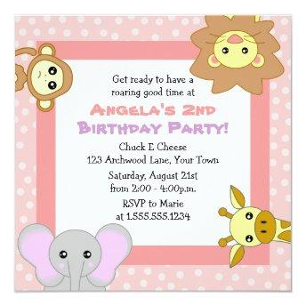 Cute Jungle Animals Pink Kids Birthday Invitation