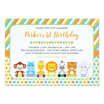 Cute Jungle Baby Animals Safari 1st Birthday Party Invitation