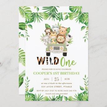 Cute Jungle Safari Car Greenery Birthday Wild One Invitation