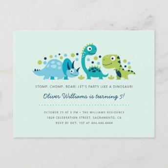 Cute Jurassic Dinosaurs Kids' Birthday Party Invitation PostInvitation