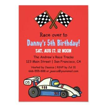 Cute Kids Race Car Birthday Party Invitation
