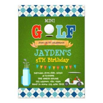 Cute mini golf birthday party invitation