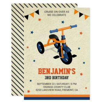 Cute Orange Tricycle Kids Birthday Party Invite