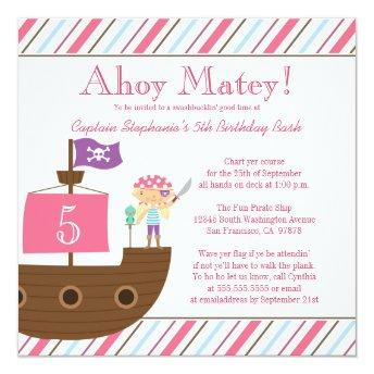 Cute pink girl's pirate birthday party