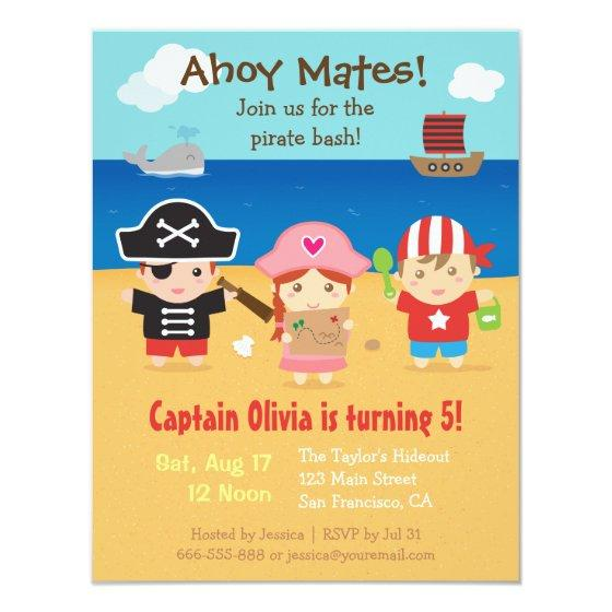 Cute Pirate Themed Kids Birthday Party Invitation Birthday Party