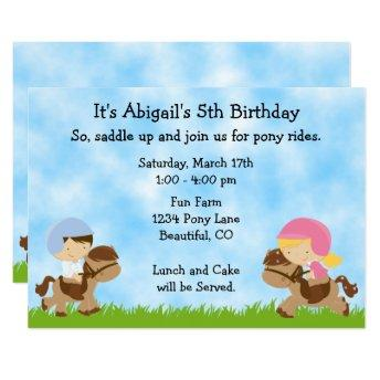Cute Pony Party Girls ~ Boys Horse Birthday Invite
