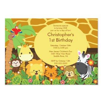 Cute Safari Jungle Birthday Party Invitation