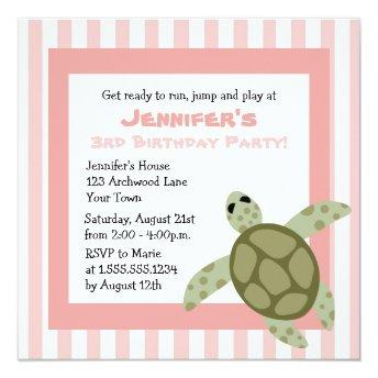 Cute Sea Turtle Birthday Party Invite Pink