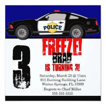 Cute Trendy Police Car Birthday Party Invitation