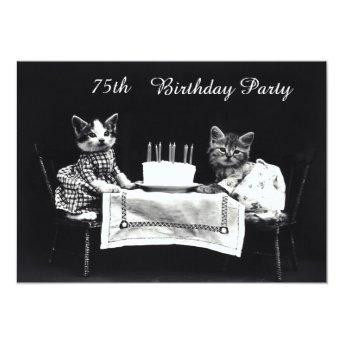 Cute Vintage Kittens 75th Birthday Party