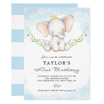 Cute Watercolor Baby Elephant Boy First Birthday Invitation