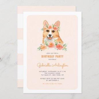 Cute Watercolor Corgi Peach Floral Kids Birthday Invitation